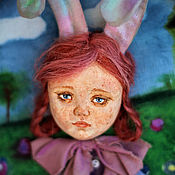 Картины и панно ручной работы. Ярмарка Мастеров - ручная работа Панно тедди-долл Зайчик. Handmade.
