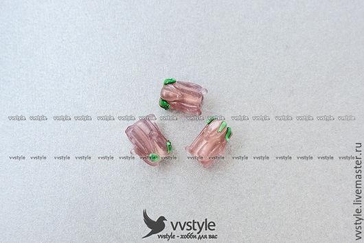 Для украшений ручной работы. Ярмарка Мастеров - ручная работа. Купить Бутон Роза Розовая Лампворк 12мм. стекло Бусина 1шт. (bl-150117-2). Handmade.