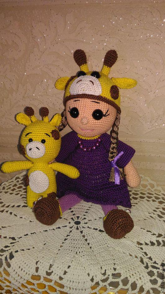 Коллекционные куклы ручной работы. Ярмарка Мастеров - ручная работа. Купить кукла Зоя с игрушкой жирафиком. Handmade. Тёмно-фиолетовый