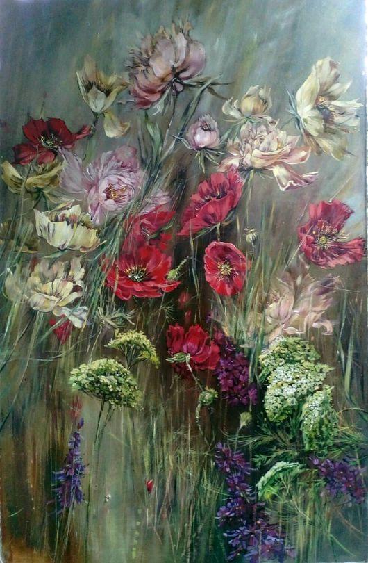 Картины цветов ручной работы. Ярмарка Мастеров - ручная работа. Купить Цветы.. Handmade. Картина, травы, зонтики, пейзаж маслом