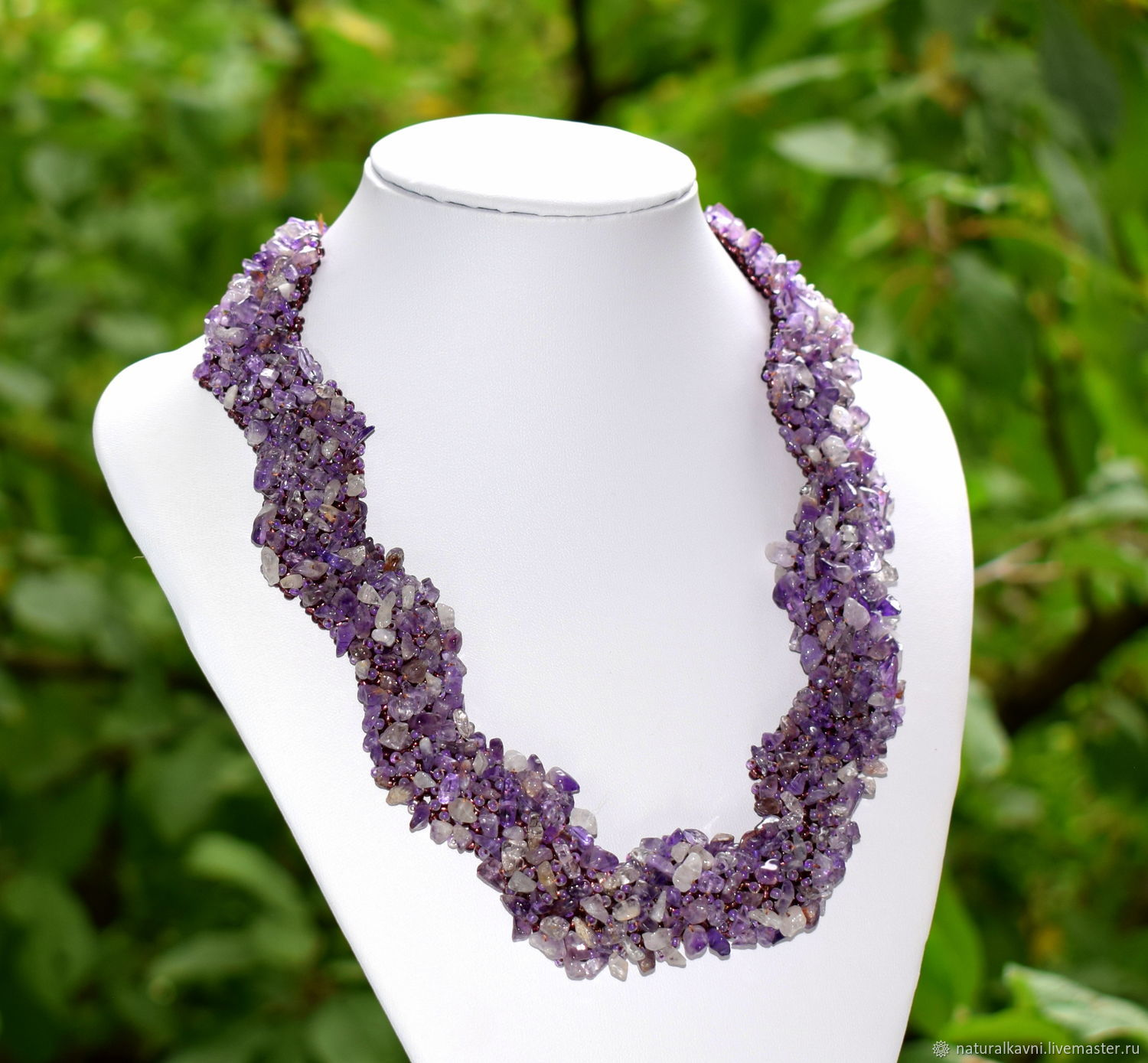 Necklace handmade from natural amethyst and beads, Necklace, Moscow,  Фото №1
