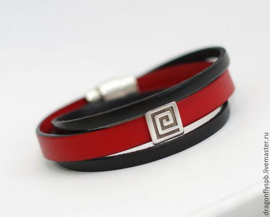 """Браслеты ручной работы. Ярмарка Мастеров - ручная работа. Купить Кожаный браслет """"ставлю на красное"""". Handmade. Ярко-красный"""