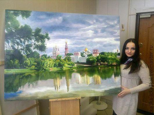 """картина: пейзаж """"Новодевичий монастырь"""". картина выполнена на холсте размером 100х135 масляными красками. можно заказать любой размер картины и подобрать вариант  погоды..."""