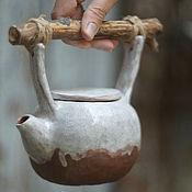 Посуда ручной работы. Ярмарка Мастеров - ручная работа Чайник керамический с веткой. Handmade.