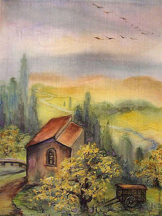 """Пейзаж ручной работы. Ярмарка Мастеров - ручная работа. Купить Акварель на ситце """"Домик в горах"""". Handmade. Картина, рисунок, акварель"""