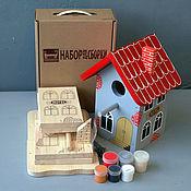 """Для дома и интерьера ручной работы. Ярмарка Мастеров - ручная работа Скворечник """"Отель"""" в виде набора для сборки с красками. Handmade."""