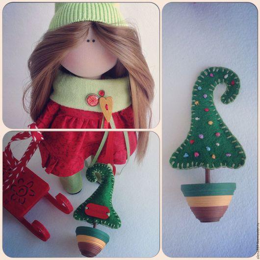 Коллекционные куклы ручной работы. Ярмарка Мастеров - ручная работа. Купить Рождественский гномик. Handmade. Ярко-красный, ручная работа