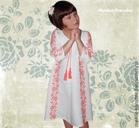 Белое платье женское КОРАЛЛ Платье лен Летнее платье Красивое платье Платье из льна Платье из хлопка Вышиванки Женская вышиванка Дизайнерское платье Дизайнерская одежда  Бело красное платье на девочку