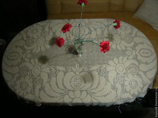 Текстиль, ковры ручной работы. Ярмарка Мастеров - ручная работа. Купить Скатерть вязаная № 059. Handmade. Бежевый, скатерть
