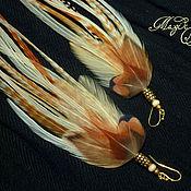 Украшения handmade. Livemaster - original item Light red long feather earrings. Handmade.