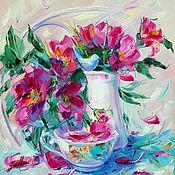 Картины и панно ручной работы. Ярмарка Мастеров - ручная работа Картина маслом на 3D холсте. Чай с шиповником. Картина с цветами. Handmade.