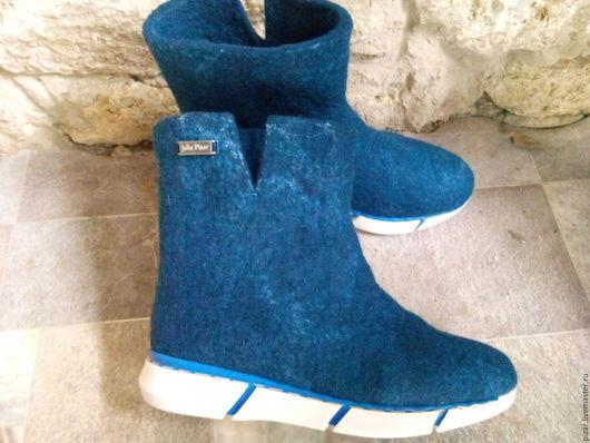 """Обувь ручной работы. Ярмарка Мастеров - ручная работа. Купить Сапожки женские валяные """"Удобные"""". Handmade. Тёмно-синий"""