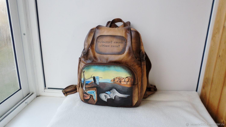 Рюкзак кожаный с гравировкой и росписью на заказ для Евгении, Рюкзаки, Ногинск,  Фото №1