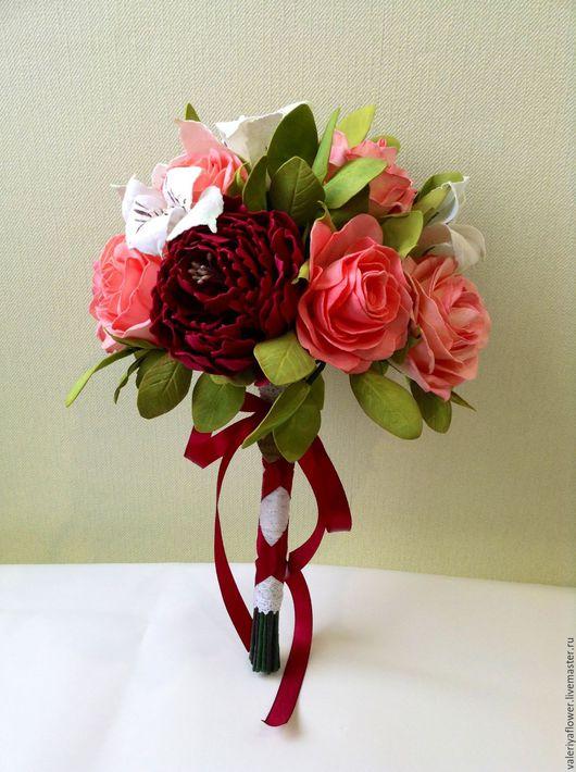"""Цветы ручной работы. Ярмарка Мастеров - ручная работа. Купить Букет невесты """"капли марсала"""". Handmade. Бордовый, букет цветов"""