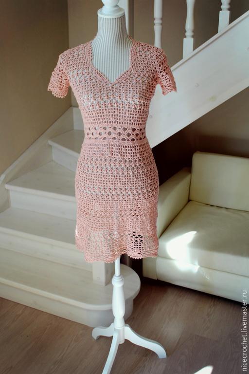 """Платья ручной работы. Ярмарка Мастеров - ручная работа. Купить Платье вязаное """"Розовый жемчуг"""". Handmade. Розовый, Розовое платье"""