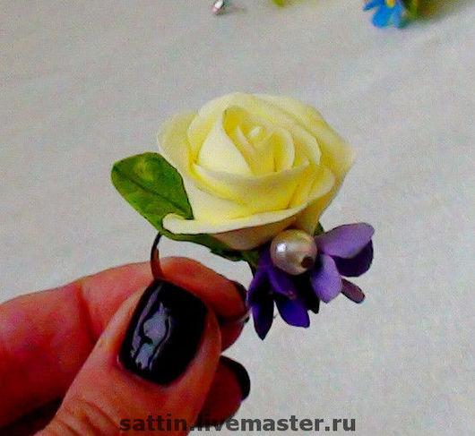 """Кольца ручной работы. Ярмарка Мастеров - ручная работа. Купить Кольцо """"Роза и сирень"""". Handmade. Кольцо с цветком, кольцо с жемчугом"""