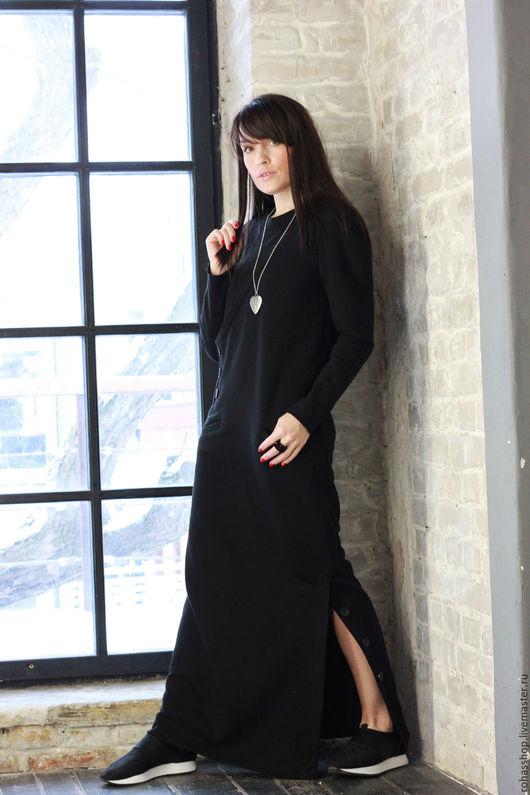 R00092 Красивое и элегантное платье.Длинное, черное платье из плотного, мягкого трикотажа. Платье в пол. Платье на каждый день. Дизайнерское платье.