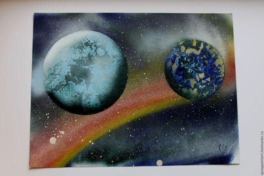 Фантазийные сюжеты ручной работы. Ярмарка Мастеров - ручная работа. Купить Уникальные картины Spray Paint Art (аэрография) Это просто космос. Handmade.