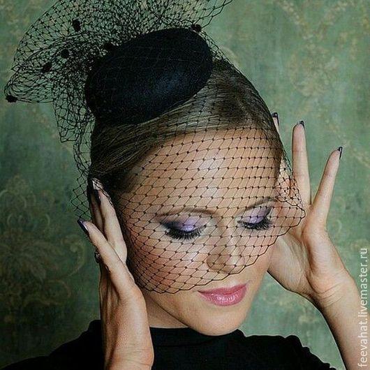 """Шляпы ручной работы. Ярмарка Мастеров - ручная работа. Купить Вечерняя шляпка вуалетка """" театральная"""". Handmade. Черный, вуалетка"""