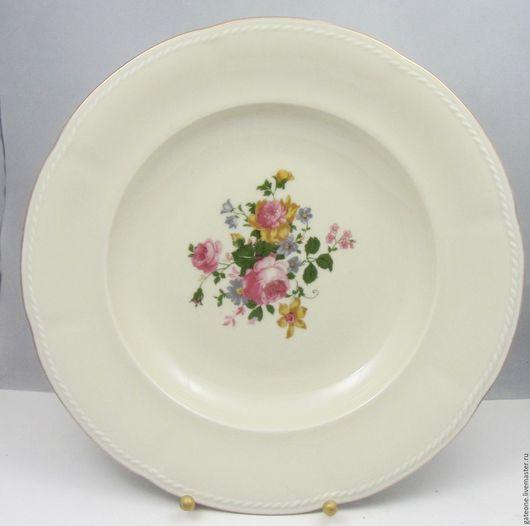 Винтажная посуда. Ярмарка Мастеров - ручная работа. Купить Огромная  антикварная тарелка с ручной росписью. Handmade. Немецкий фарфор, коллекционирование