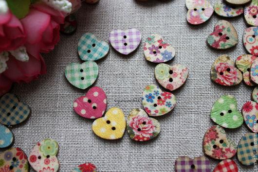 Шитье ручной работы. Ярмарка Мастеров - ручная работа. Купить Пуговицы сердечки. Handmade. Разноцветный, пуговицы, пуговицы круглые