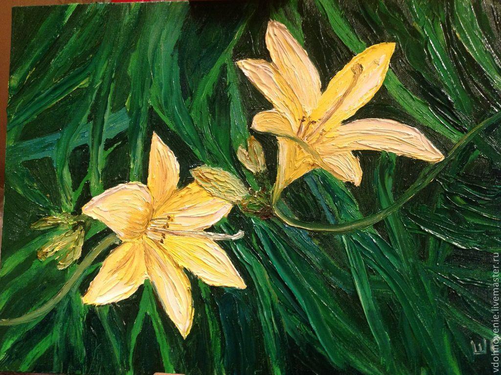 Картины цветов ручной работы. Ярмарка Мастеров - ручная работа. Купить Желтые огни. Handmade. Цветы, трава, желтый, зеленый