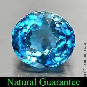 Natural Topaz - Chemical:  Al2SiO4(F OH)2 Genuine Gemstone -  London Blue Brazil 7.8 x 7 x 5.2 Mm - 2.16 Ct.  Hardness:   8   More Details Gravity:   3.49 - 3.57 Clarity:   VSI Shape:   Oval