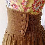 Одежда handmade. Livemaster - original item Linen skirt with belt and corset. Handmade.