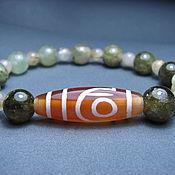 Украшения handmade. Livemaster - original item Bracelet grossular, quartz hairy, JI 2 eyes