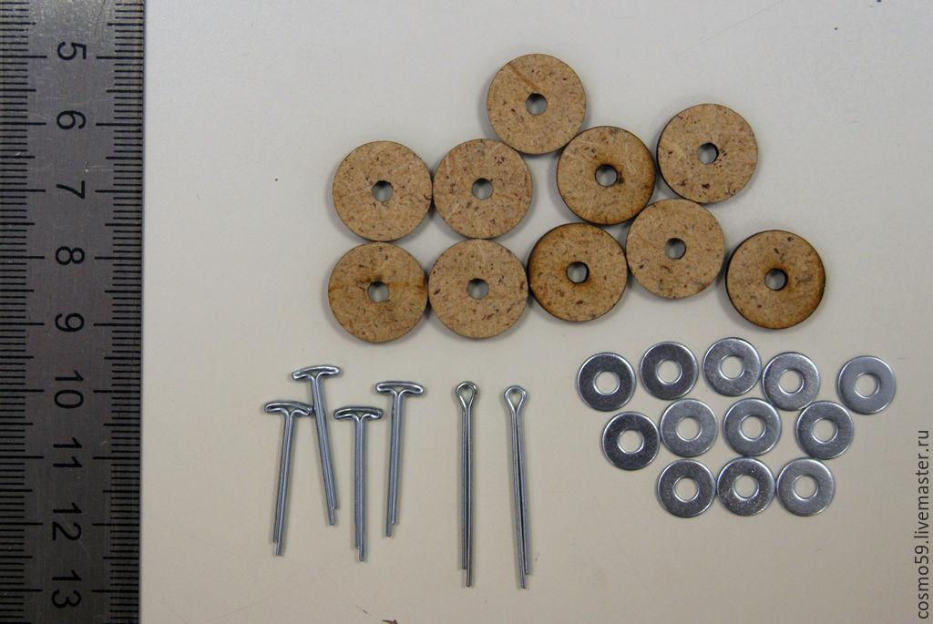 Набор креплений для игрушки с качающейся головой. Диски 15мм, Т-образные шплинты 2,0х20мм, Петельные шплинты 2,0х25мм, шайбы 3мм. Цена 106 руб.