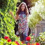 Платья ручной работы. Ярмарка Мастеров - ручная работа Платье с цветочным принтом и кружевом. Handmade.