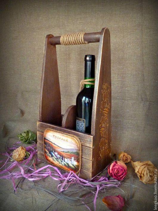 """Подарочное оформление бутылок ручной работы. Ярмарка Мастеров - ручная работа. Купить Винный короб на две бутылки """"Таскана"""". Handmade."""