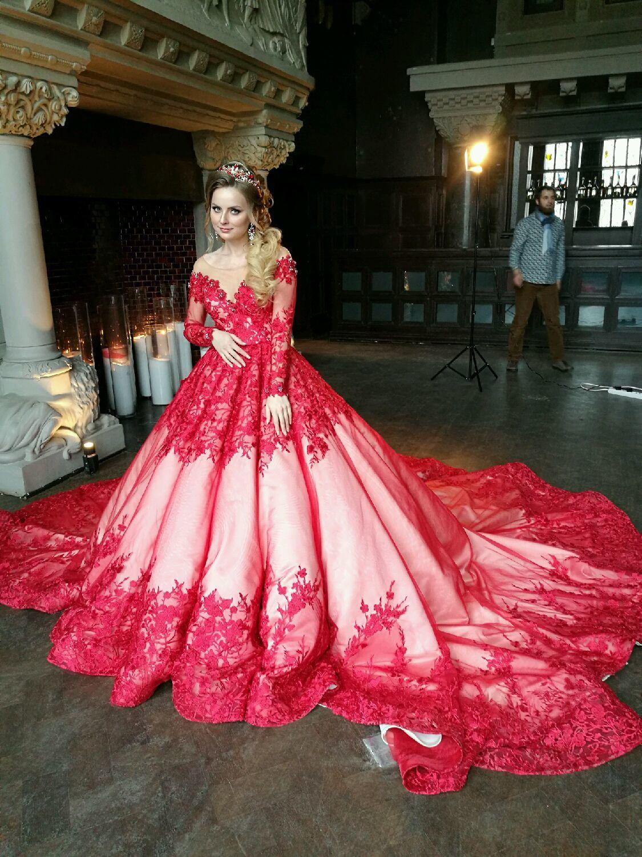 красно белое свадебное платье купить