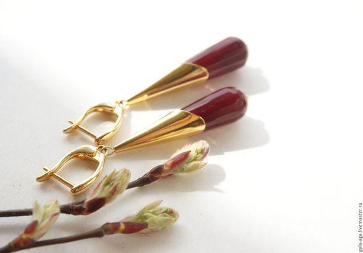 """Серьги ручной работы. Ярмарка Мастеров - ручная работа. Купить Серьги """"Вишневые оттенки"""". Handmade. Бордовый, золотой, подарок девушке"""