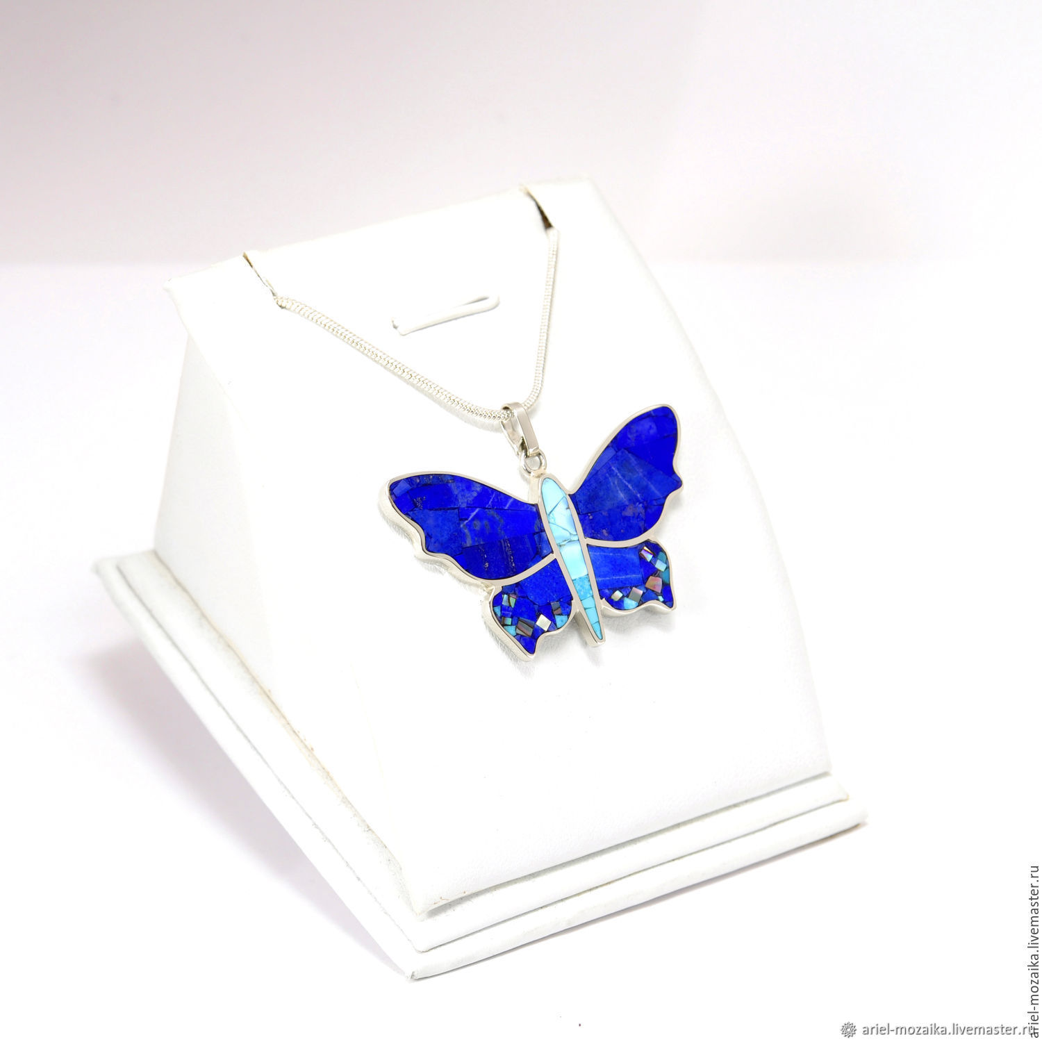 Pendant butterfly. Lapis Lazuli, Turquoise, Mother Of Pearl. Pendant handmade, Pendant, Moscow,  Фото №1