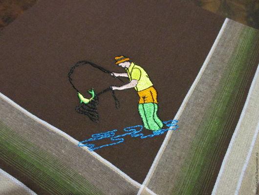 Носовые платочки ручной работы. Ярмарка Мастеров - ручная работа. Купить Носовой платок с вышивкой_рыбалка. Handmade. Носовой платок, носовик