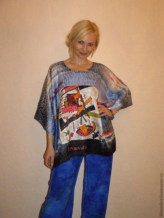 Большие размеры ручной работы. Ярмарка Мастеров - ручная работа. Купить Блуза-Геометрия(Малевич). Handmade. Абстрактный, большие размеры