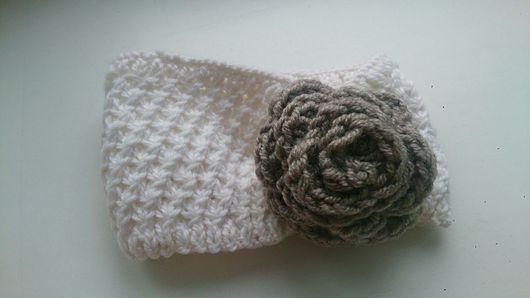 Шапки и шарфы ручной работы. Ярмарка Мастеров - ручная работа. Купить Вязаная повязка на голову. Handmade. Белый, повязка на голову