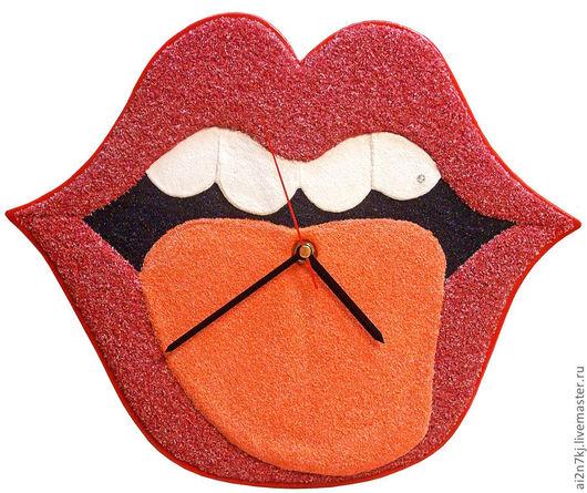 """Часы для дома ручной работы. Ярмарка Мастеров - ручная работа. Купить """"КОКЕТКА"""" из песка часы авторские. Handmade. Ярко-красный"""