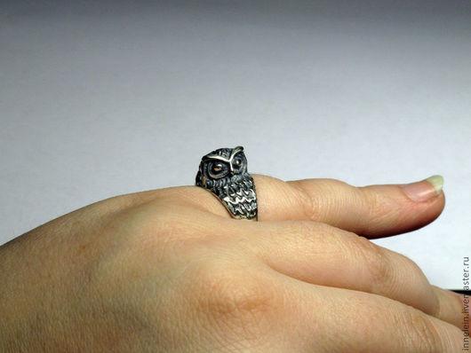 """Кольца ручной работы. Ярмарка Мастеров - ручная работа. Купить Серебряное кольцо """"Совушка"""". Handmade. Серебряный, кольцо с совой"""