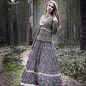 Одежда ручной работы. Ярмарка Мастеров - ручная работа Длинная юбка бохо Lia, юбка бохо из хлопка с кружевом. Handmade.