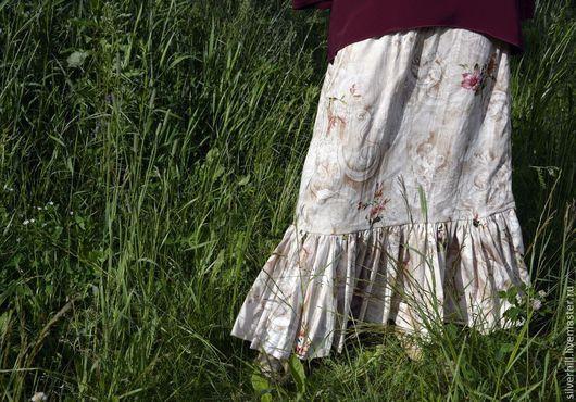 """Юбки ручной работы. Ярмарка Мастеров - ручная работа. Купить Летняя юбка """"Цветы на песке"""". Handmade. Хлопок, юбка летняя"""