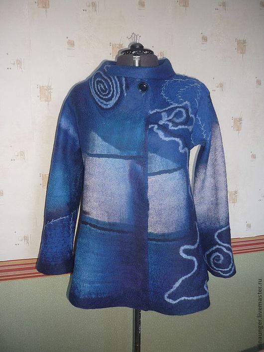 """Верхняя одежда ручной работы. Ярмарка Мастеров - ручная работа. Купить Полупальто валяное """"Эльфина"""".. Handmade. Тёмно-синий"""