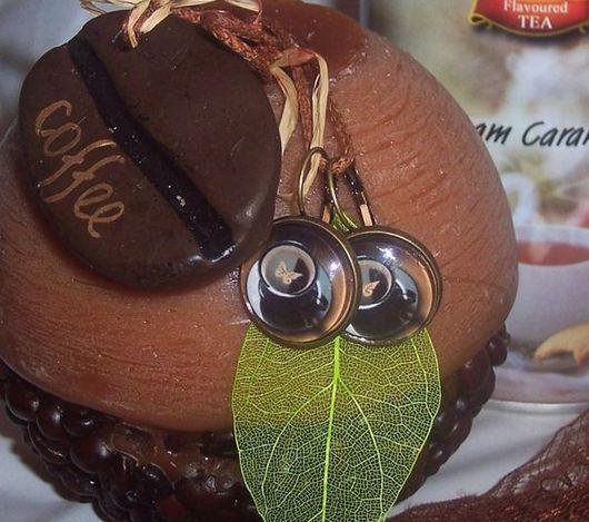 """Серьги ручной работы. Ярмарка Мастеров - ручная работа. Купить Серьги """"Эспрессо"""". Handmade. Кофе, коричневый, стекло"""
