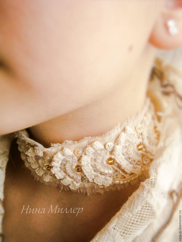Choker neck beige women's. The Great Gatsby. Boho. Vintage.