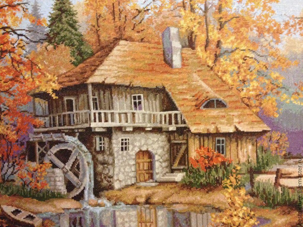 Вышивка по картине осенний пейзаж