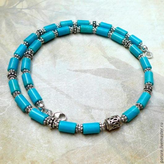 Колье, бусы ручной работы. Ярмарка Мастеров - ручная работа. Купить Серебряное ожерелье (чокер) с натуральной голубой Бирюзой. Handmade.
