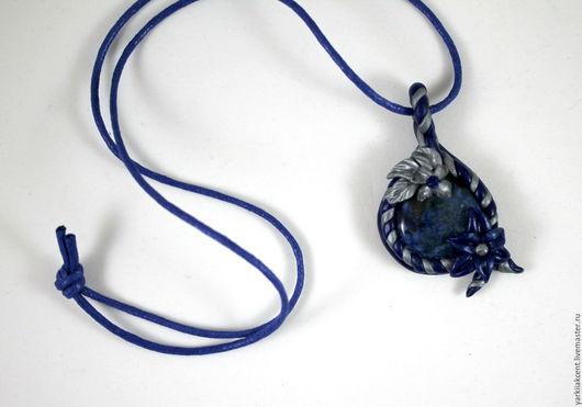 """Кулоны, подвески ручной работы. Ярмарка Мастеров - ручная работа. Купить Кулон """"Цветочный камень"""". Handmade. Тёмно-синий"""