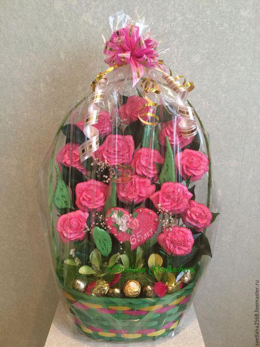 Букеты ручной работы. Ярмарка Мастеров - ручная работа. Купить Букет роз Букет цветов изпряников Букет из конфет Розовые розы Пряники. Handmade.