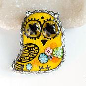 Совушка Мурано. Желтая.Авторское, муранское стекло.Витражные украшения